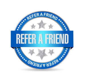 refer a friend seal sign concept illustration design